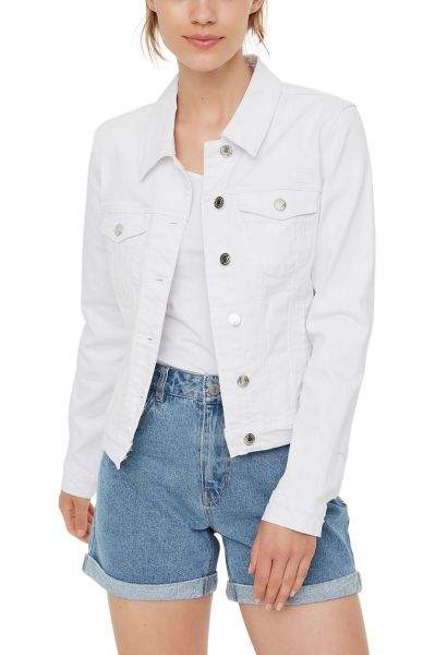 Blouson court regular en jean HOT Blanc