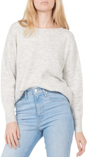 Pull large col rond Gris clair