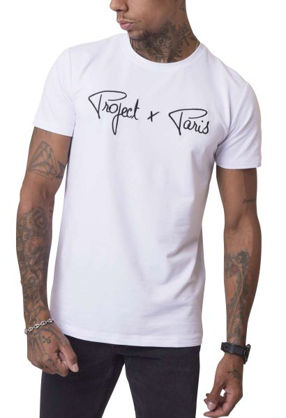 Tee shirt basic logo broderie manches courtes col rond Blanc
