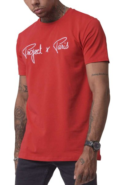 Tee shirt basic logo broderie manches courtes col rond Rouge