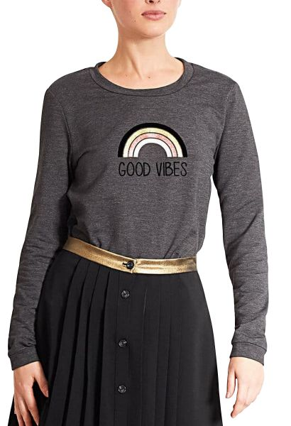 Sweat col rond manches longues Anthracite