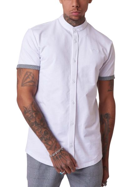 Chemise manches courtes basic col mao Blanc
