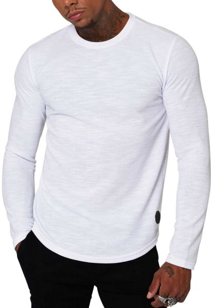 Tee shirt basic manches longues col rond Blanc