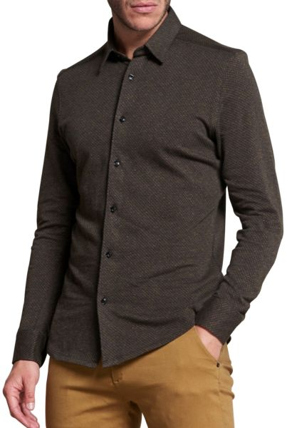 Chemise manches longues jacquard Moutarde