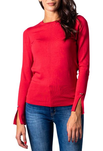 Pull basic col rond manches fendues WANDA Rouge