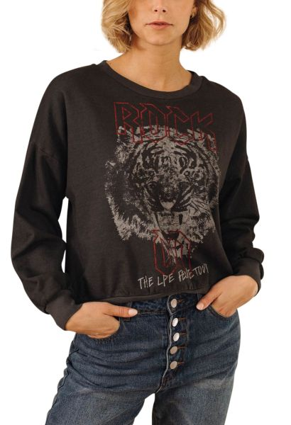 Sweat shirt rock tête de tigre TIGER Noir