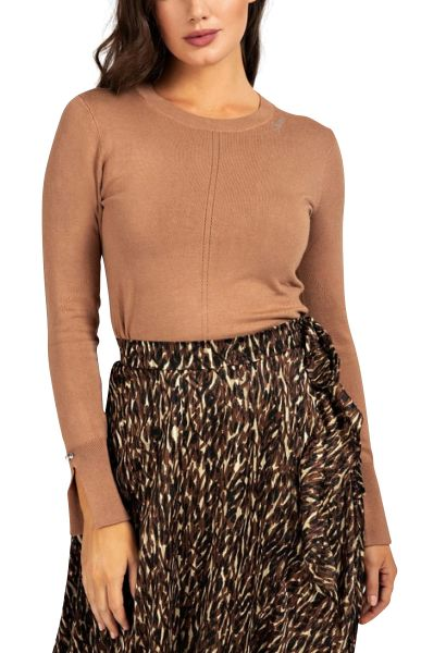Pull basic col rond manches fendues WANDA Camel