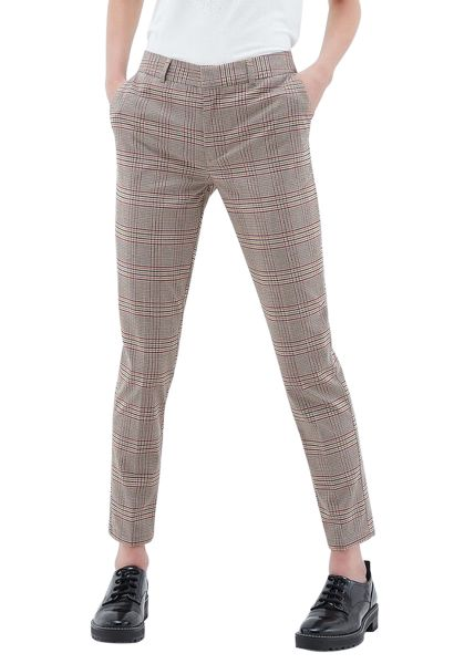 Pantalon classic slim carreaux PCITY PANT JAC Naturel