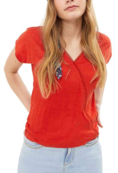 Tee shirt manches courtes col v Rouge