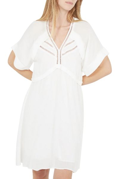 Robe manches courtes col v CURTIS Blanc