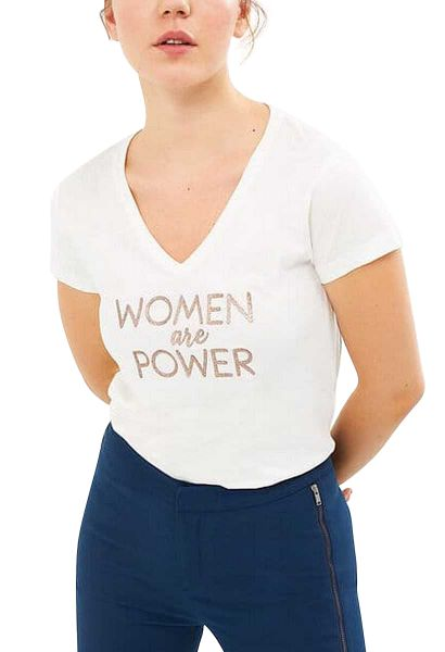 Tee shirt manches courtes col v Women are power Blanc