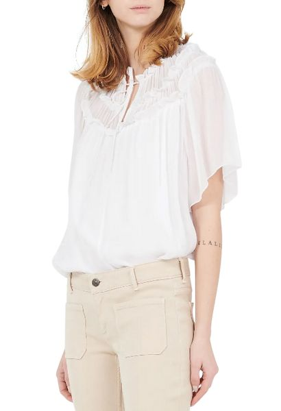 Blouse manches courtes larges THEODORA Blanc