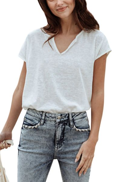 Tee shirt manches courtes oversize col v boutonné TENDRA Blanc