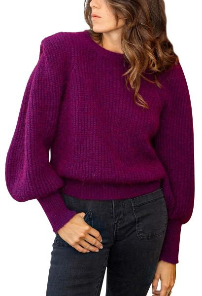 Pull manches bouffantes CAPUCI Violet